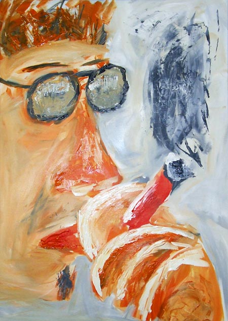 Till Erdmenger with cigar on an acrylic painting by Andreas Kanngiesser