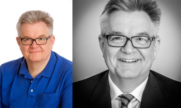 """Beim linken Portrait passen Perspektive, Kleidung, Körperhaltung und Mimik nicht, rechts im Sinne eines Businessportraits ein """"gutes"""" Foto © Till Erdmenger – Businessfotos"""